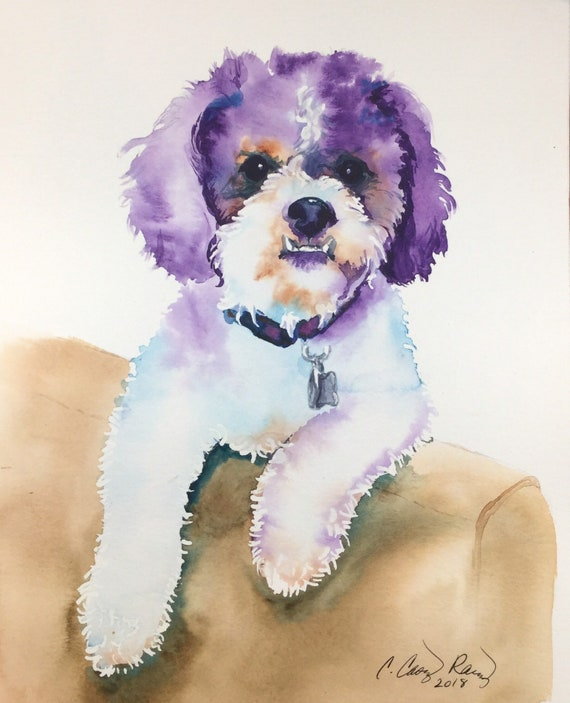 Dog Portrait or any Pet, Hand Painted, Custom Original Watercolor Painting from Your Photo