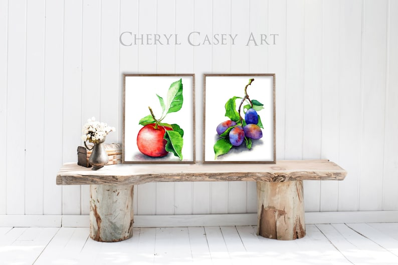 Watercolor Food Apple Plums Art Print Set Of 2 Realistic Red image 0