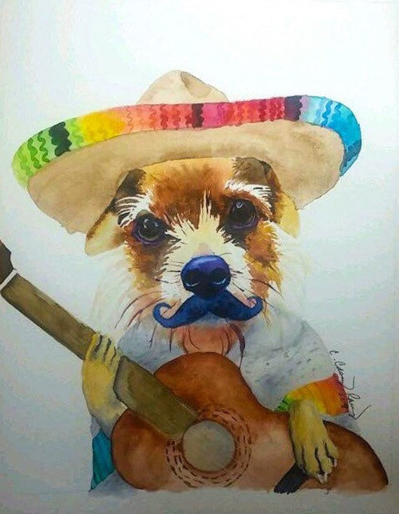 YOUR DOG with a Sombrero, Mustache, and Guitar, Custom Pet Portrait Watercolor Painting from Photo
