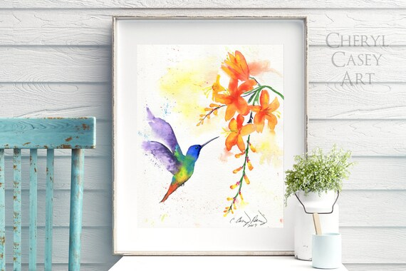Hummingbird Art Print, Watercolor Bird Painting by Cheryl Casey
