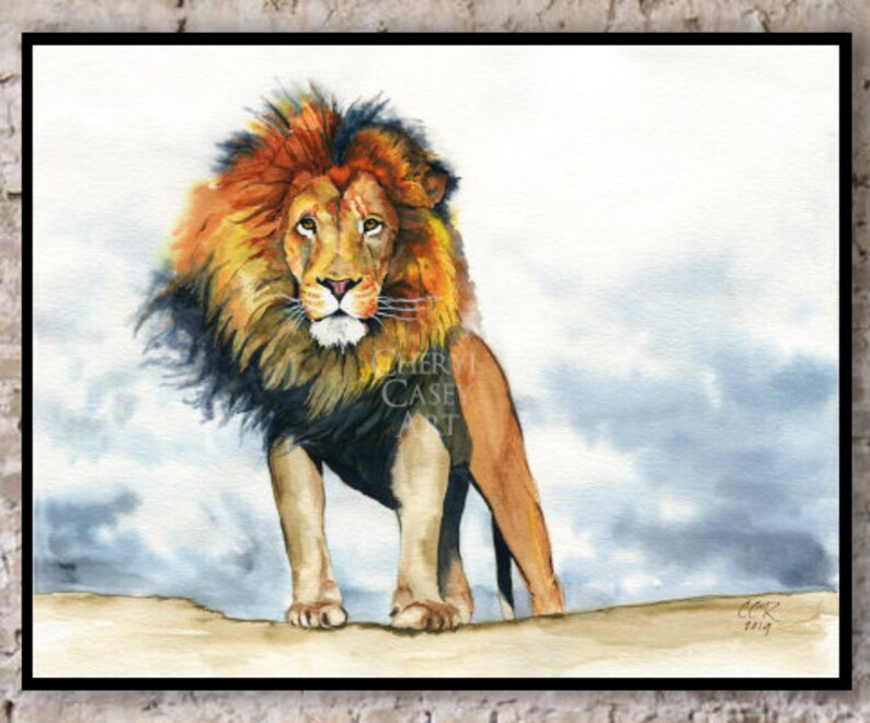 Lion Art Print from Watercolor Painting by Cheryl Casey image 0