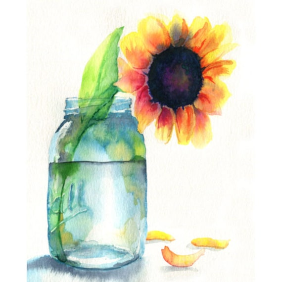 Sunflower Watercolor Art Print from Original Painting by Cheryl Casey, Floral Wall Decor, Mason Jar