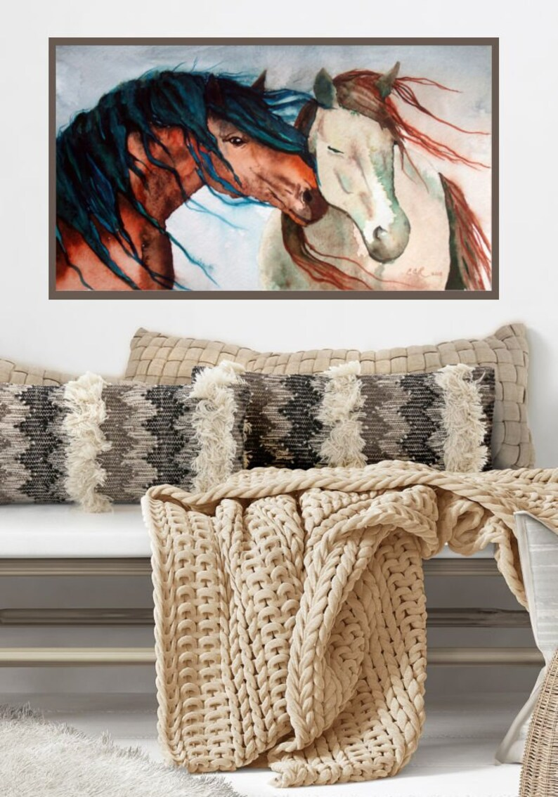 EXTRA LARGE PRINT Nuzzling Horses Wall Art Print from Original image 0