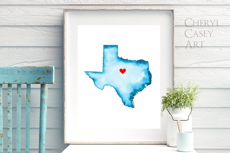 Texas or ANY STATE Personalized Map Any Color Any Town Hand image 0