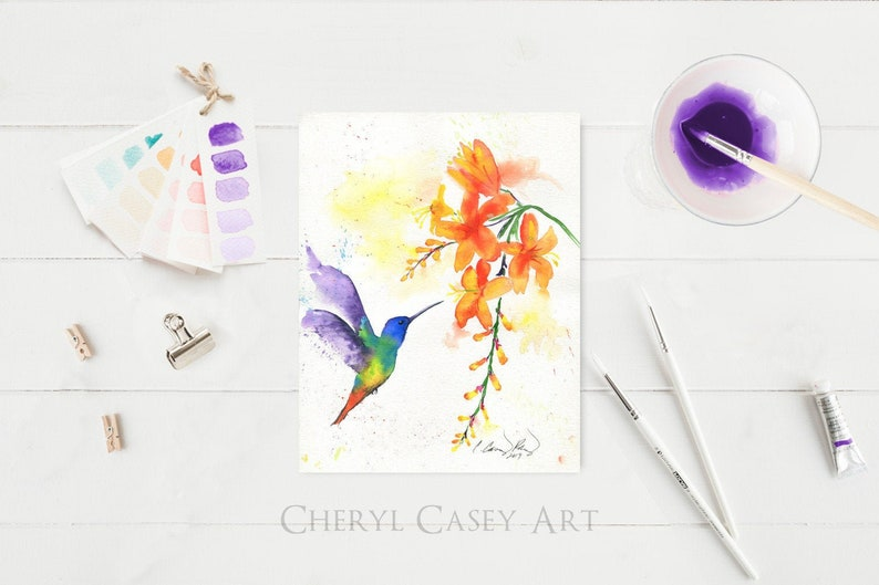 Hummingbird ORIGINAL Painting Watercolor Art by Cheryl Casey image 0