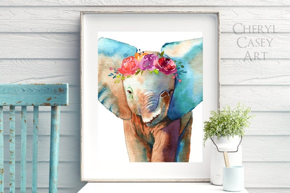 Elephant Painting Art Print, Baby Elephant with Flower Crown Wall Art, Animal Watercolor, safari poster nursery gift decor
