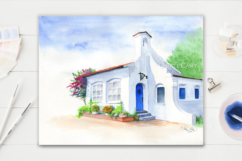 ORIGINAL Painting Spanish Mission Architecture Art Watercolor image 0