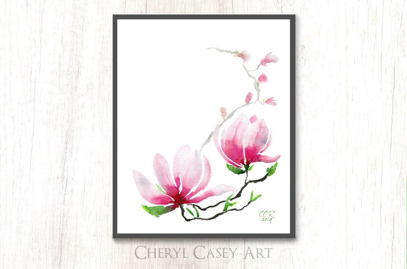 Minimalist Magnolia Art Print from Watercolor Painting by image 0