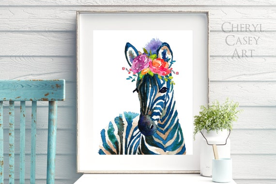 Zebra Painting Art Print, Baby Animal Watercolor Print,flower crown safari poster nursery gift decor