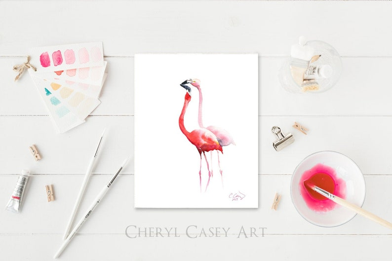 ORIGINAL Painting Pink Flamingos Watercolor Painting by image 0