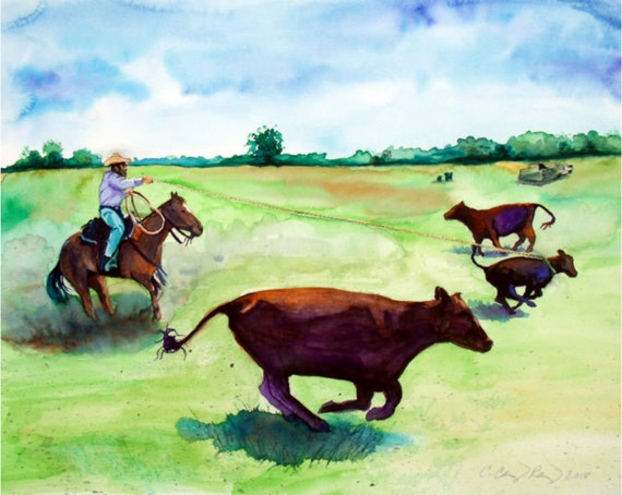 Cowboy Art Print from Watercolor Painting by Cheryl Casey, cattle ranch calf roping landscape