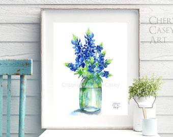 Bluebonnets Art Print from Watercolor Painting by Cheryl Casey, Texas Bluebonnets Wildflower BLUEBONNETS IN A JAR