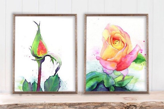 Rose Art Print Set of 2 Minimalist Botanical Watercolor, yellow pink coral flowers floral painting by Cheryl Casey