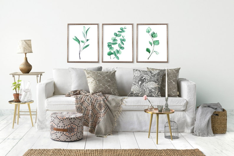 Eucalyptus Art Print Set of 3 from Watercolor Paintings by image 0