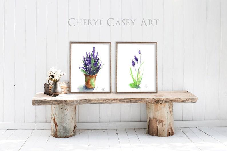 Lavender Art Print Set of 2 Watercolor Lavender Painting image 0