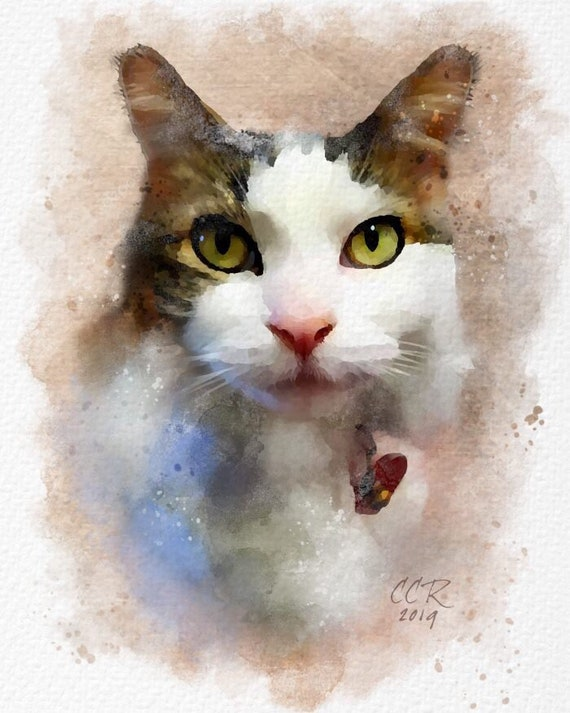 Digital Watercolor Portrait from Photo, Pets and/or People, Watercolor Style