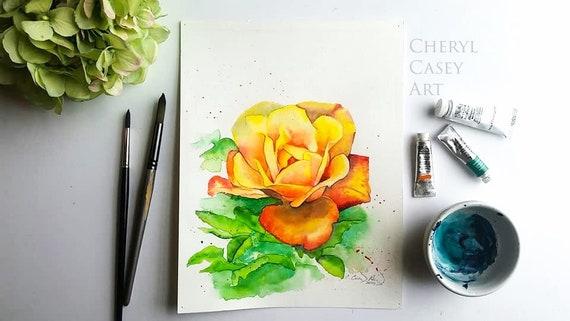 Rio Samba Yellow Rose Watercolor Painting Art Print, Yellow Orange Flower, Modern Floral Illustration Wall Decor, rio4
