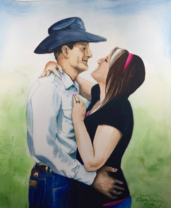 CUSTOM Portrait Painting from Photo, Portrait Commission Watercolor Painting, Two People, Couple