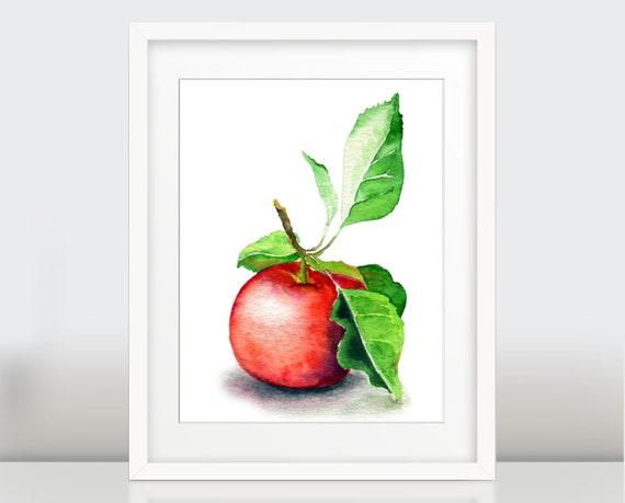 Apple Wall Art Print, Botanical Watercolor Print, Apple poster, garden gift, home decor, kitchen art
