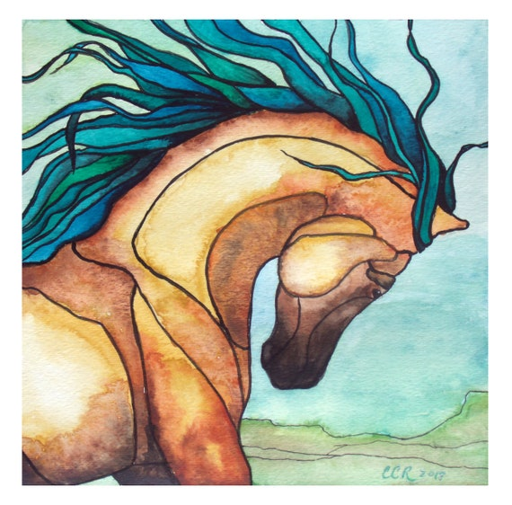 Wild Mustang, Horse Watercolor Art Print from Original Painting by Cheryl Casey, Wall Decor
