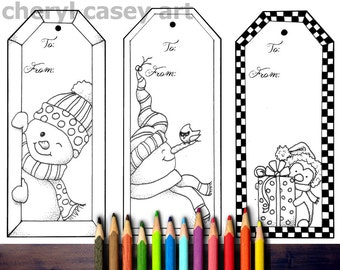 Printable Coloring Page - Christmas Gift Tags, 3 Large - Cheryl Casey Art - Digistamp, Digital Stamp