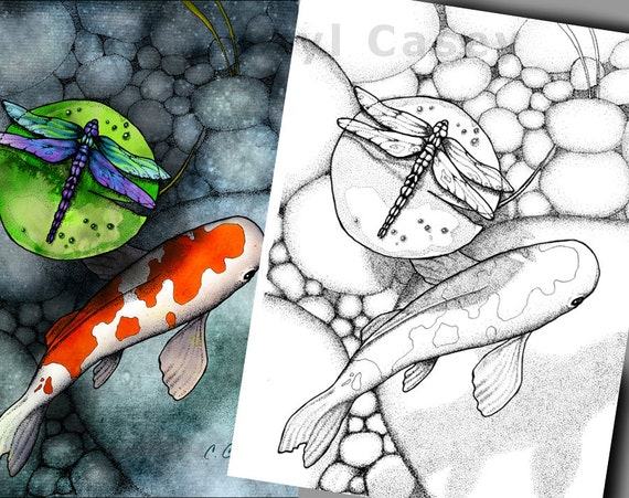 Adult Coloring Page Koi Fish Pond With Dragonfly On Lily Pad