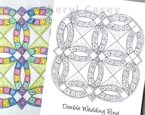 Printable Coloring Page Quilt Double Wedding Ring Cheryl
