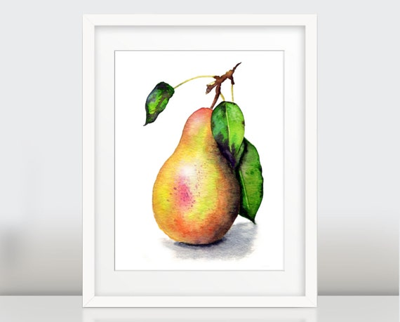 Pear Wall Art Print, Botanical Watercolor Print, Fruit poster garden gift, home decor, kitchen art