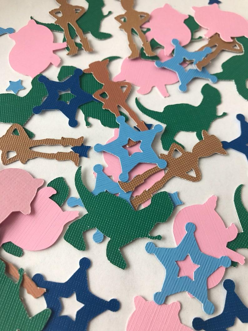 Toy story confetti/ woody rex hamm star badge combo