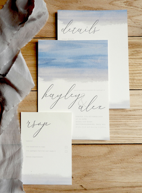 Brush Watercolour Wedding Invites - Wedding Stationery Collection -  Calligraphy Invites - Save the Dates - Stylish Wedding Invitation Pack