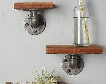 Small Pipe and Wood Shelf (sold individually, not a set.  Order 3 if you want 3)