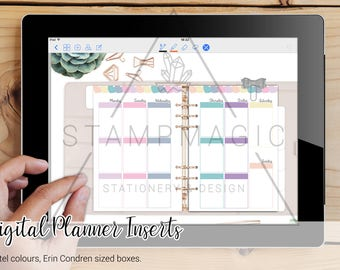 Vertical Hand Drawn Happiness Blooms Digital Planner Inserts WO2P