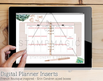French Boutique Digital Planner Inserts - WO2P - Vertical - Erin Condren Style