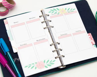 Personal PRINTED planner inserts - Week on two pages - Vertical - Erin Condren style - Floral