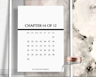 Printable Monthly Calendar, Black And White Year 2018, Minimalist 12 Chapter Months Calendars Prints, Month Planner Pages, Instant Download.