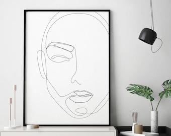 Single Line Art Print : Printable face in one line drawing feminist artwork print