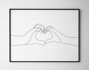 Hand Heart Printable One Line Drawing Print Love Hands Gesture Artwork Finger Poster Original Minimalist Couple Art Minimal Fine Decor
