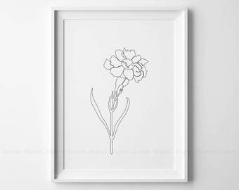 Line Drawing Of Rose Plant : Rose drawing printable abstract minimalist art thin white etsy
