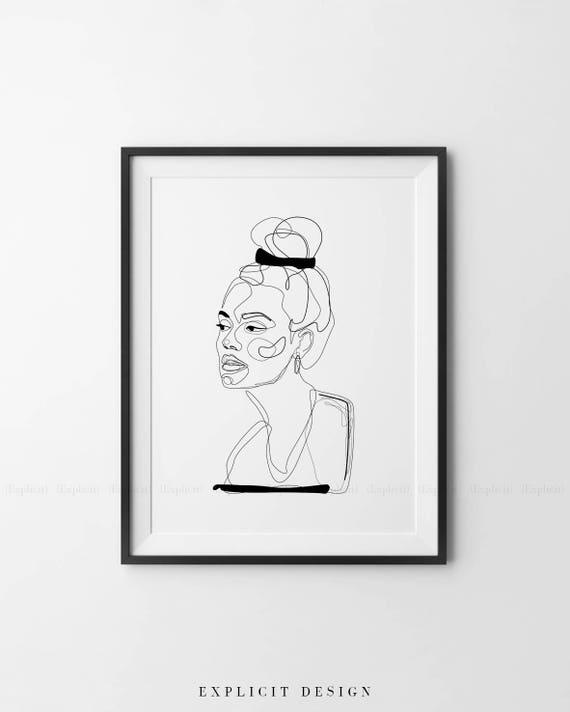 Abstrakcyjna Ilustracja Linii Minimalny Rysunek Twarzy W Linii Do Druku żółty Szkic Mody Sporządzony Portret Kobiecy Minimalistyczny Art Woman
