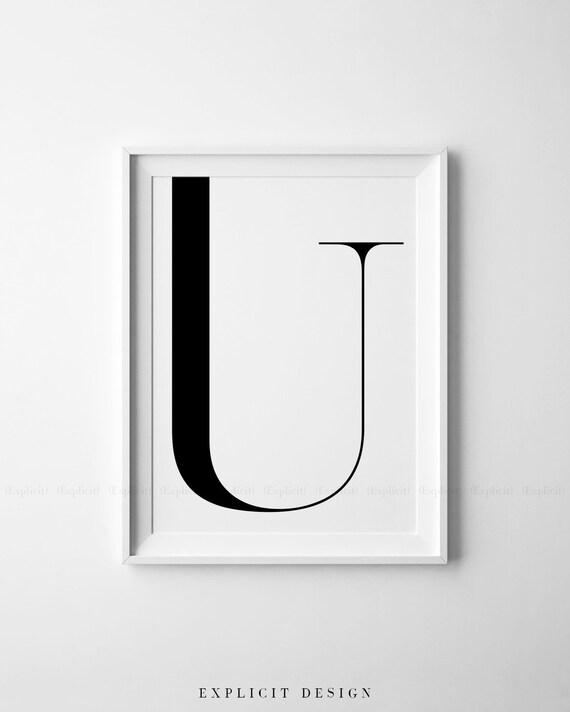 Do Druku Litera U śmiały Geometryczny Plakat Wstępny Duży Etsy