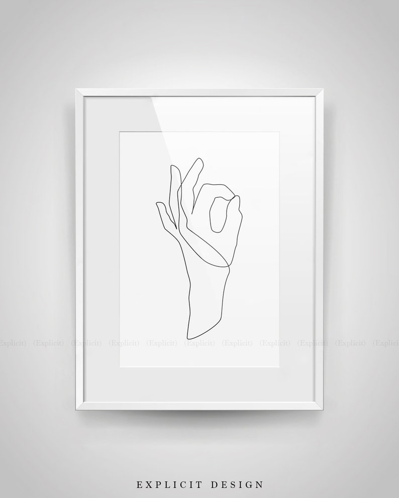 photograph relating to Printable Hands titled Printable Okay Hand Gesture Line Drawing, Black and White Palms Art Print, Minimalist Finger Artwork, Bare minimum Arm / Wrist Example Decor.