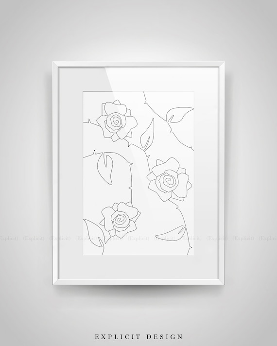 Abstract Rose Bush Printable White Minimalist Art Thin Drawing Roses Fine Line Pattern Flower Wall Prints Botanic Background Poster