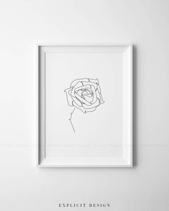 Rose Dessin Imprimable Abstract Art Minimaliste Fin Imprime Etsy
