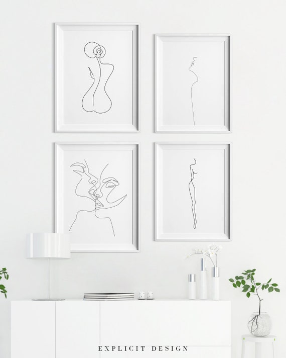 One Line Drawing Set Of 4 Printable Minimalist Kiss Woman Body Print Bundle Of Four Continuous Female Face Wall Art Feminine Prints