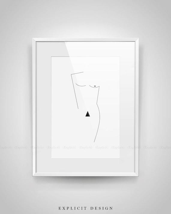 Geometric Man Figure Printable Minimalist Nude Male Body Form  Etsy-5326