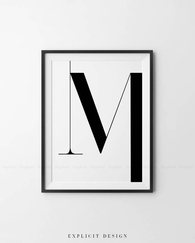 Digital Download Scandinavian Wall Sign Monochrome Poster Simple Table Decor Large M Letter Printable Black and White Initials Print