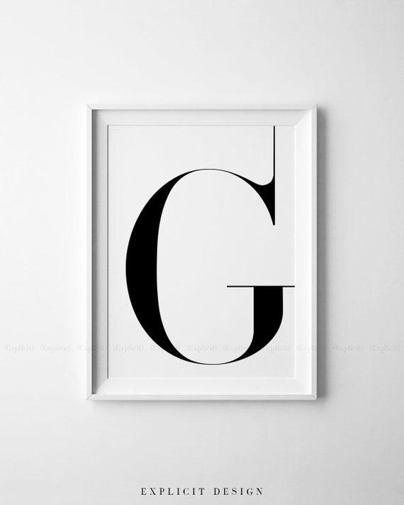 Lettre Majuscule G Imprimable Complétant Poster Noir Blanc Initiales Print Décor De Table Simple Digitale Murale Scandinave Signe