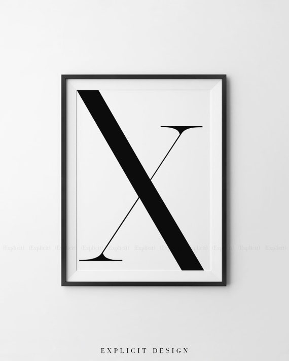 Lettre Majuscule Imprimable X Gras Géométrique Initial Affiche Impression Grand Personnage Noir Minimaliste Mur Scandinave Numérique Decor Tirages