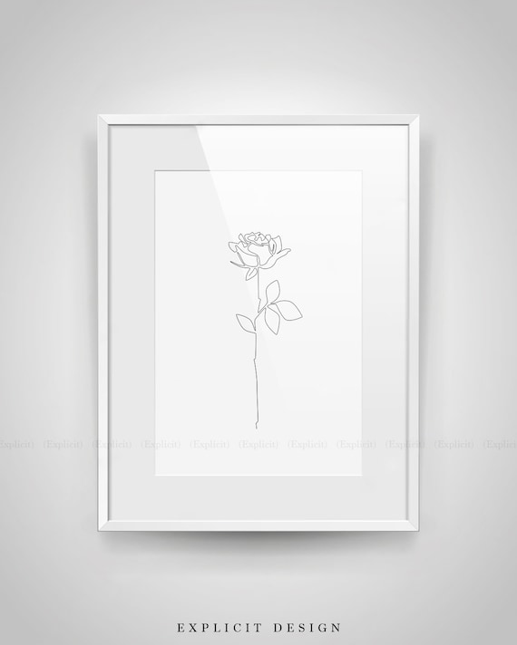 Line Drawing Poster : Rose drawing printable abstract minimalist art thin white