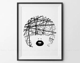 Girl Face Printable, Black and White Artwork, Black Lips, Original Scandinavian Wall Decor, Simple Line Art, Bob Haircut, Modern Home Print.